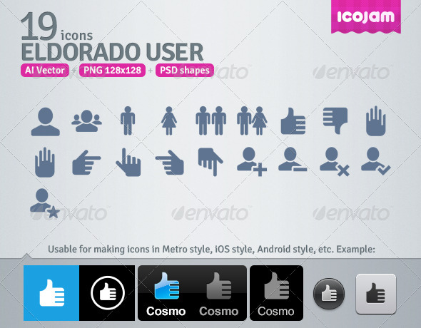 GraphicRiver 19 AI and PSD User strict Icons 4257632