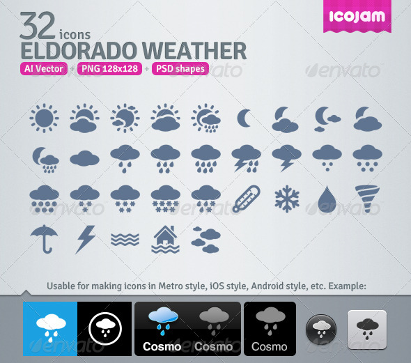 GraphicRiver 32 AI and PSD Weather strict Icons 4257679