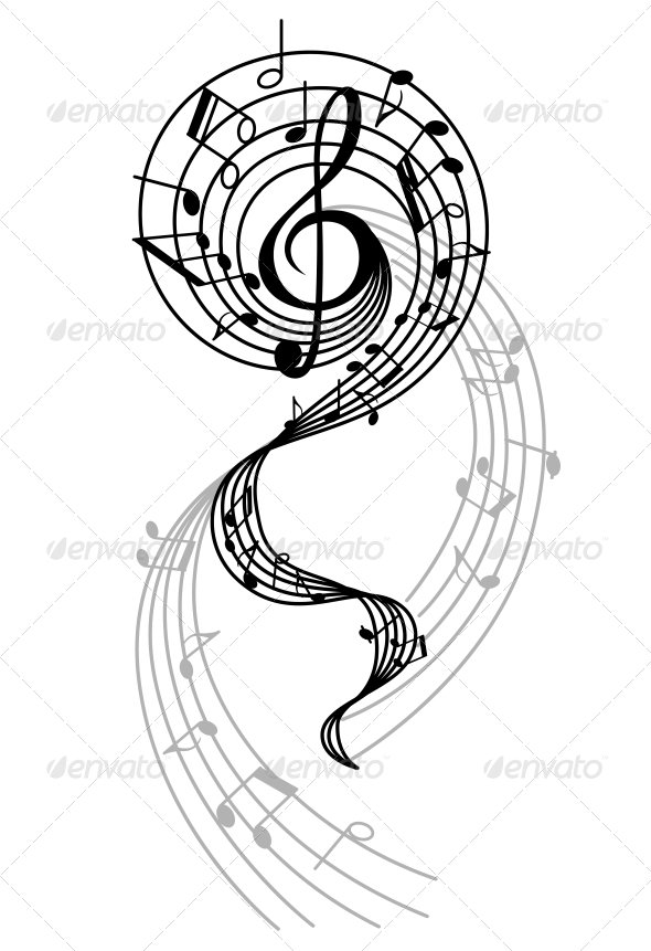 GraphicRiver Abstract Musical Swirl with Notes and Sounds 4257885