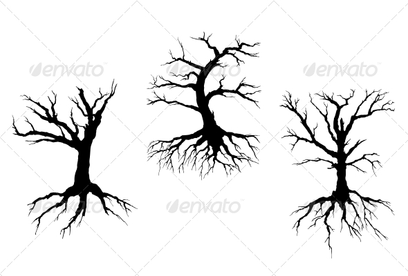 GraphicRiver Dead Trees with Stem and Roots 4257908
