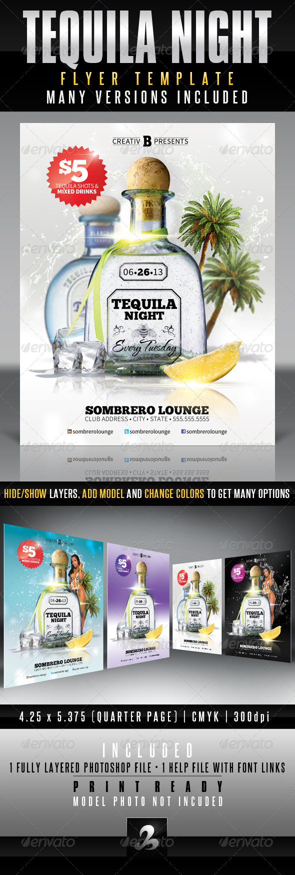 Tequila Night Flyer Template - Clubs and Parties Events