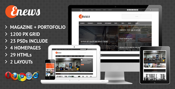Enews Responsive News & Portofolio Template