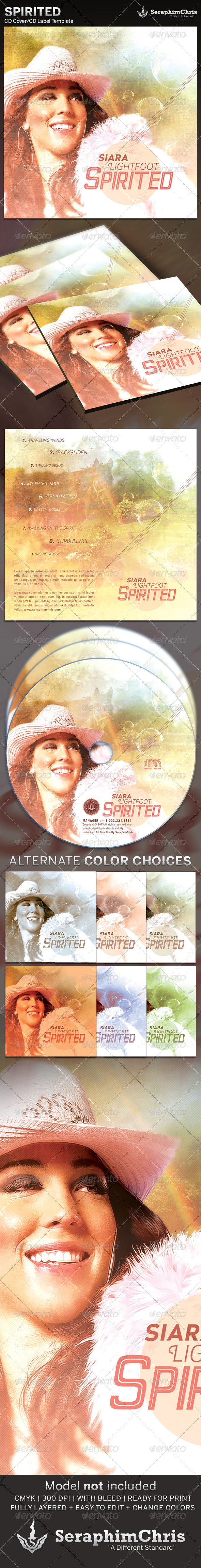 Spirited: CD Cover Artwork Template - CD & DVD Artwork Print Templates