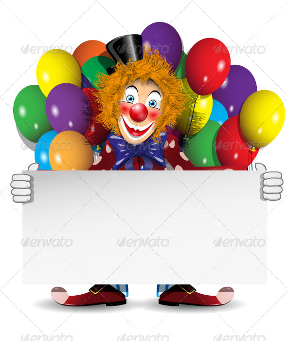 Clown with a Banner and Balloons