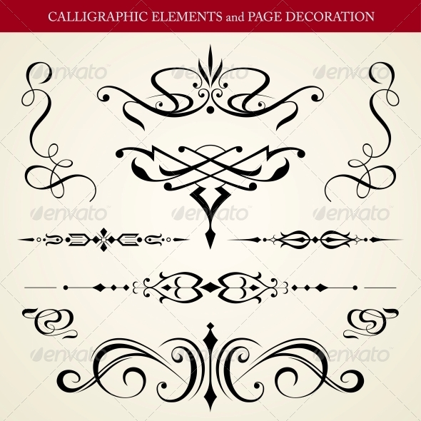 GraphicRiver Calligraphic Elements and Page Decoration 4260954