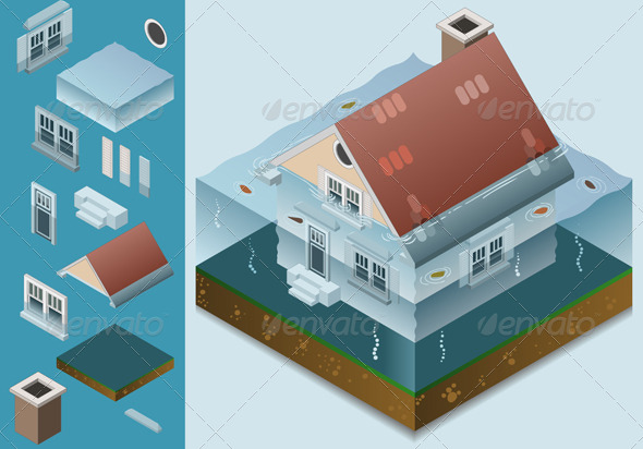 GraphicRiver Isometric Flooded House 4261321
