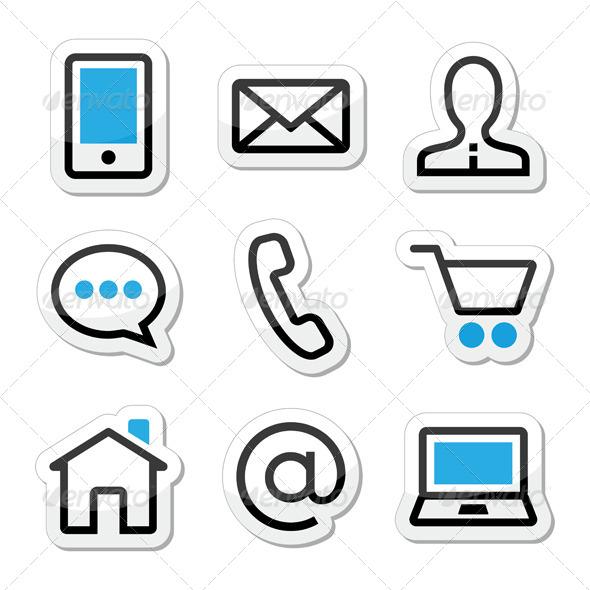 GraphicRiver Contact Web Stroke Icons Set 4261774