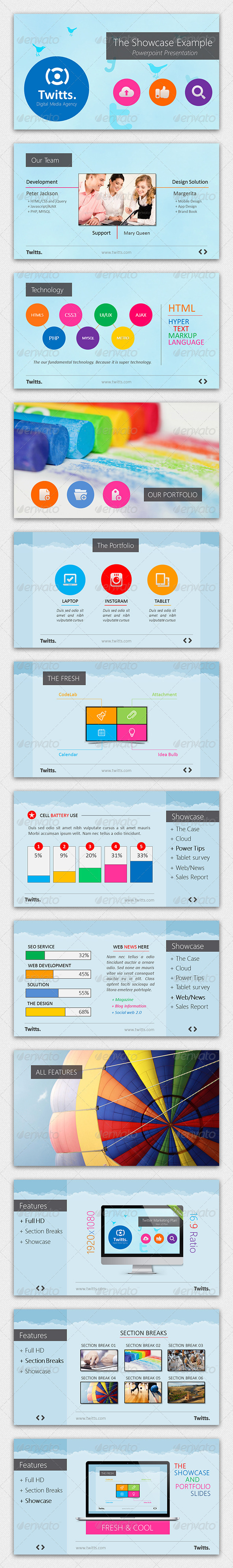 GraphicRiver Twitts Powerpoint Presentation Template 4261919