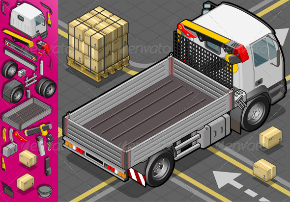 GraphicRiver Isometric Container Truck in Rear View 4261992