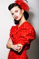 Woman in Red Polka Dot Dress with Crossed Arms. Fashion. Retro Style - Pin Up - PhotoDune Item for Sale