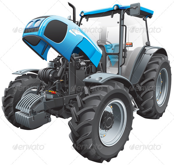 Tractor with Open Hood - Objects Vectors