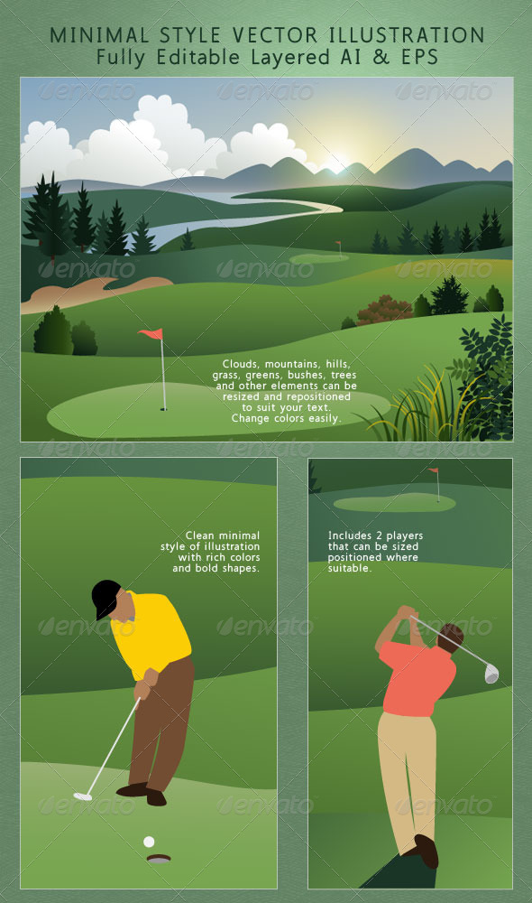 GraphicRiver Golf Course; Golfers on the Greens Landscape 4263072