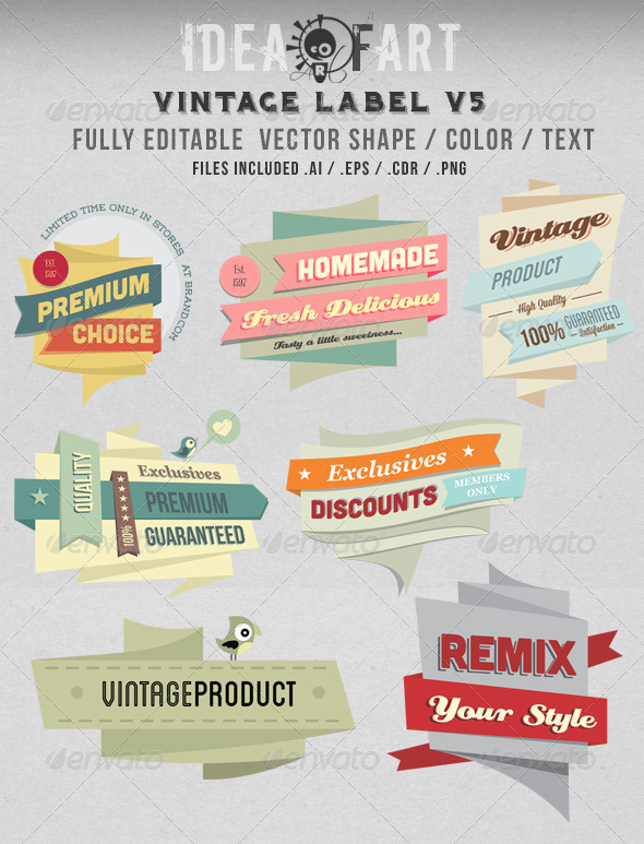 Vintage Label V5 - Badges & Stickers Web Elements