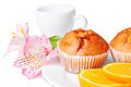 Two Muffins, Orange and Flowers - PhotoDune Item for Sale