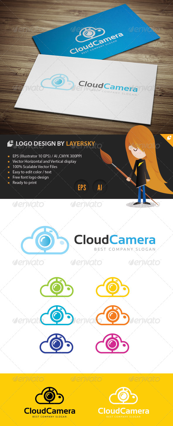 GraphicRiver Cloud Camera Logo 4263670