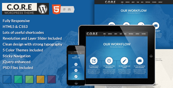 ThemeForest Core Responsive One Page WordPress Theme 4265309