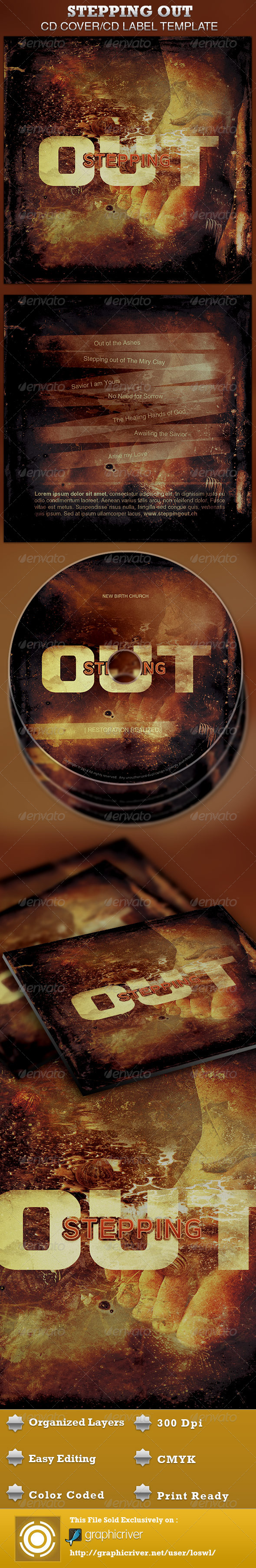 Stepping Out CD Artwork Template - CD & DVD artwork Print Templates