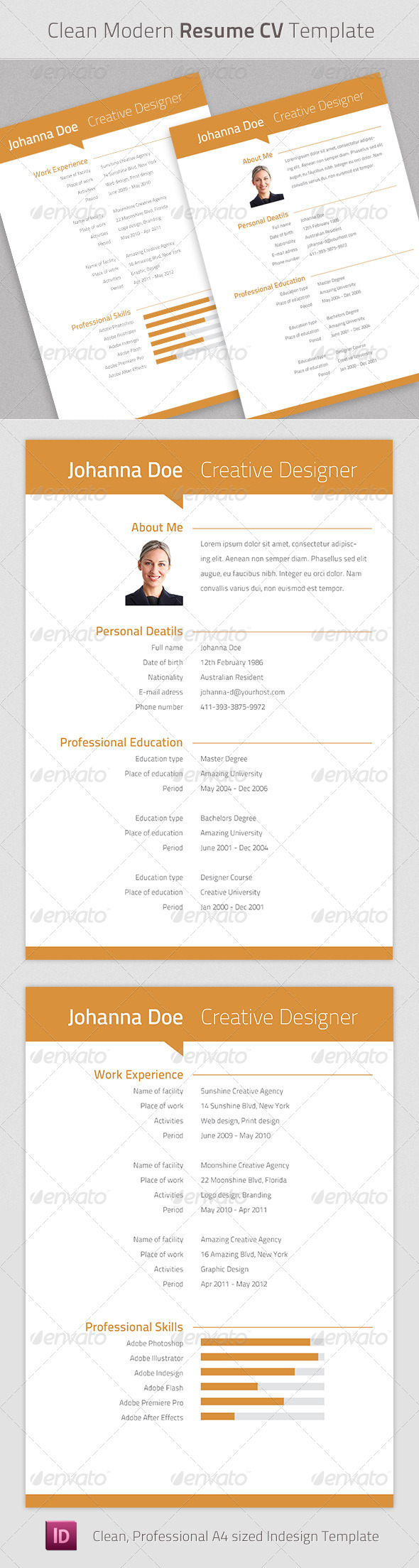 Clean Modern Resume Cv Indesign Template - Resumes Stationery