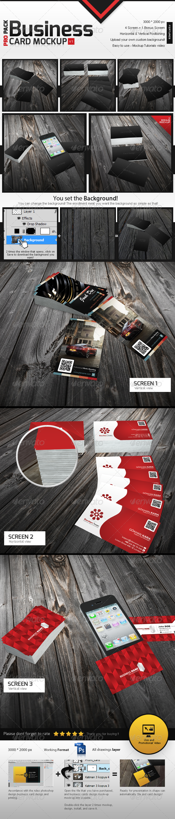 Business Card Mockup v1 - Print Product Mock-Ups