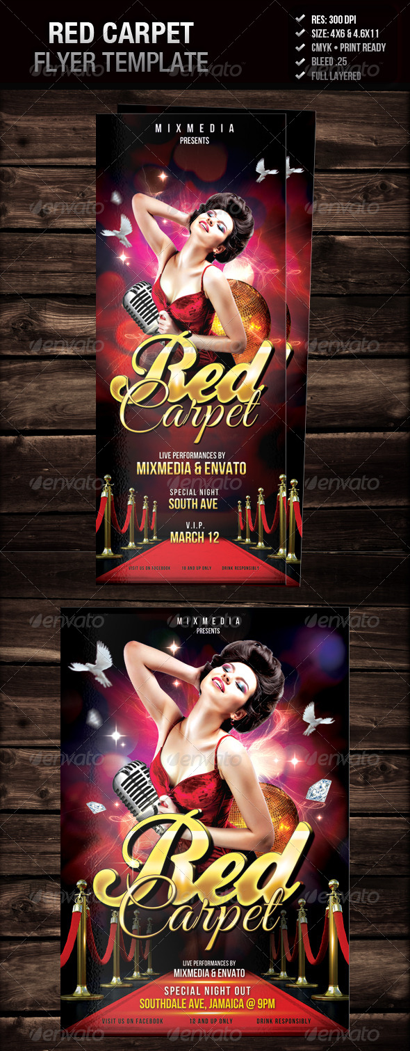 Red Carpet Flyer - Clubs & Parties Events