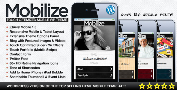 Mobilize jQuery Mobile WordPress Theme