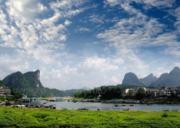 PhotoDune Bamboo raft at the Ulong river near Yangshuo 4266581