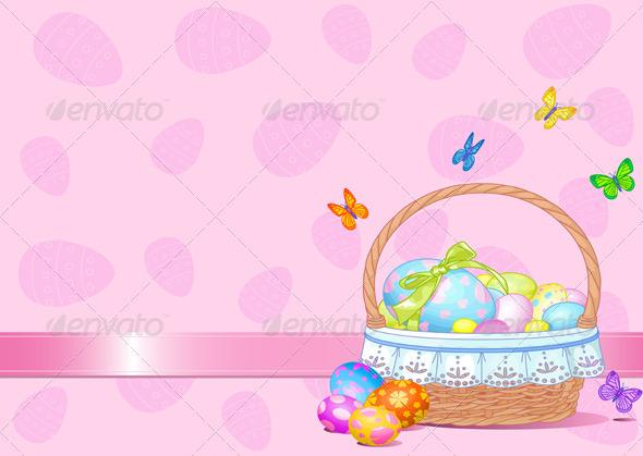 GraphicRiver Easter Basket Background 4267269