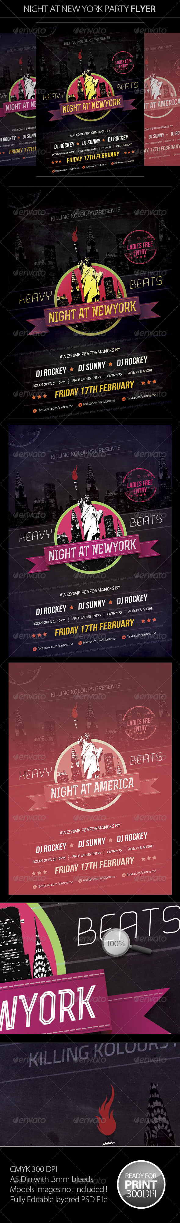 Night at New York Retro Flyer - Clubs & Parties Events
