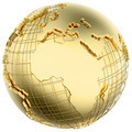Earth in Gold Metal isolated (Africa/Europe) - PhotoDune Item for Sale