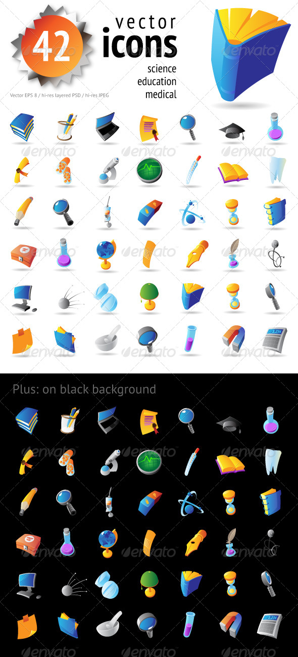 GraphicRiver Vector Icons for Science and Education 4267707
