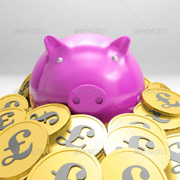 PhotoDune Piggybank Surrounded In Coins Showing Britain Wealth 4268076