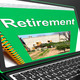 Retirement Book On Laptop Showing Pension Plans - PhotoDune Item for Sale