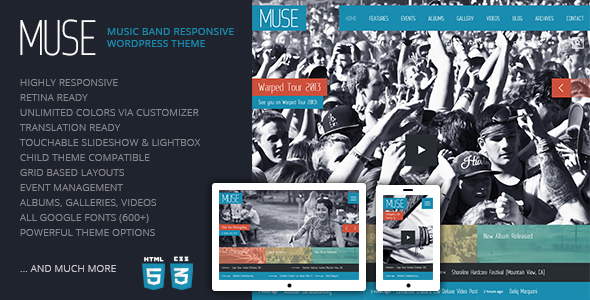 ThemeForest Muse Music Band Responsive WordPress Theme 4224216