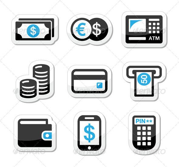Money atm Cash Machine Vector Icons Set