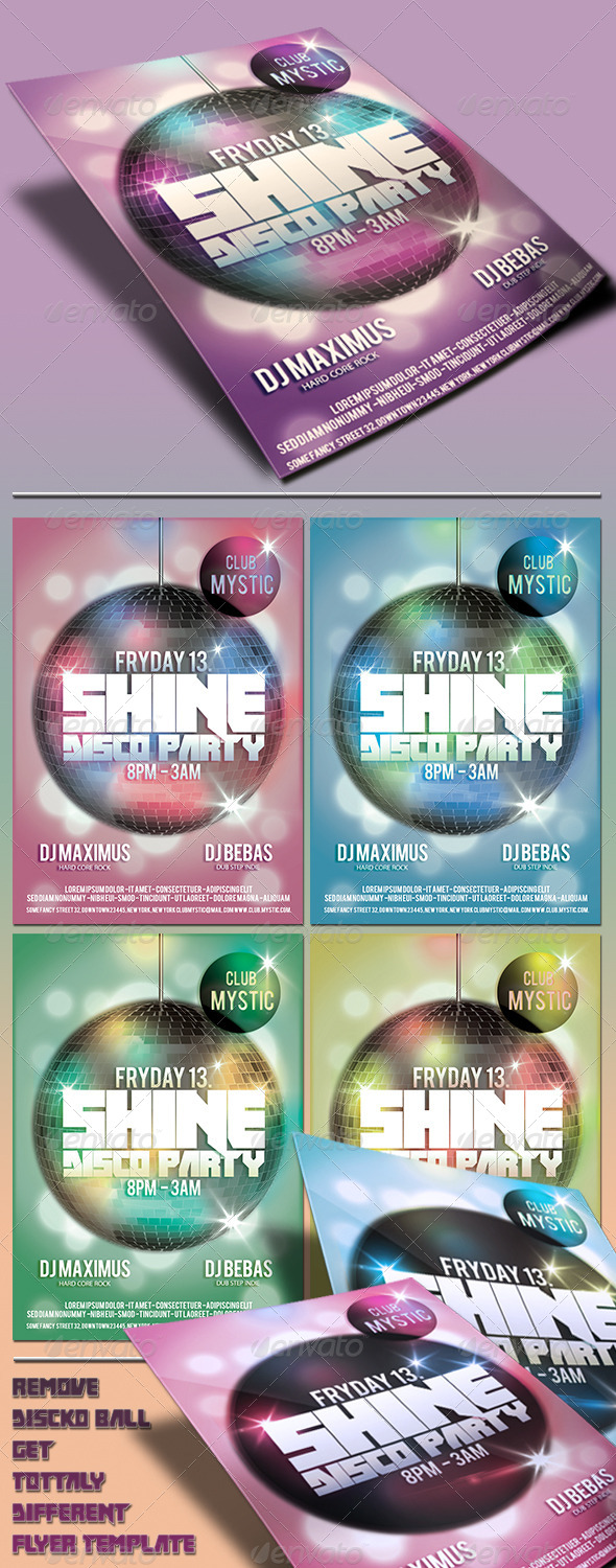 GraphicRiver Shine Disco Party Flyer 4269286