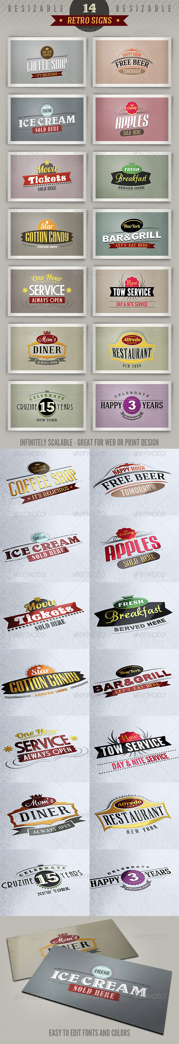 14 Retro Signs or Banners - Badges & Stickers Web Elements