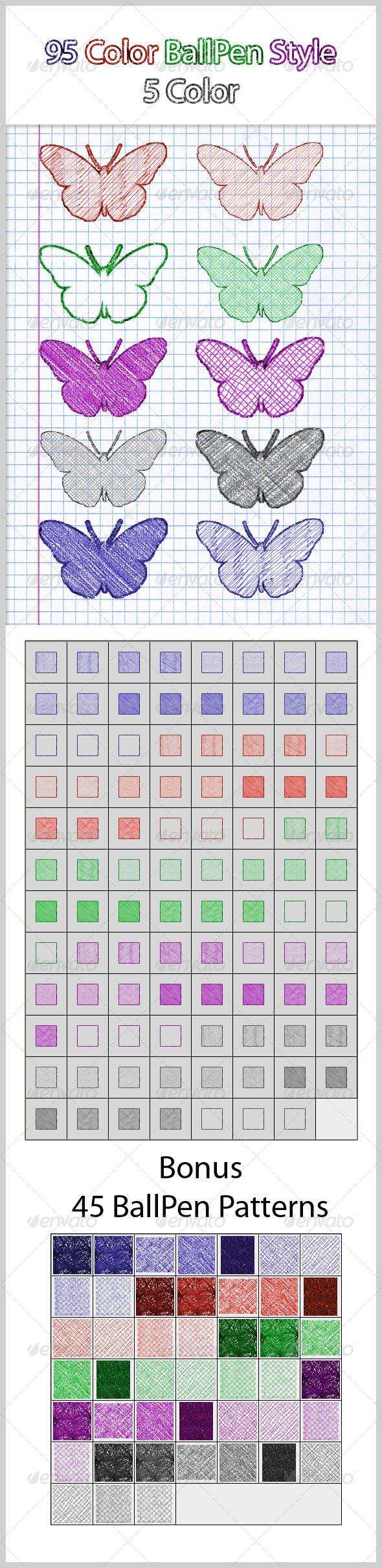 95 Color BallPen Style (5 Color) - Styles Photoshop