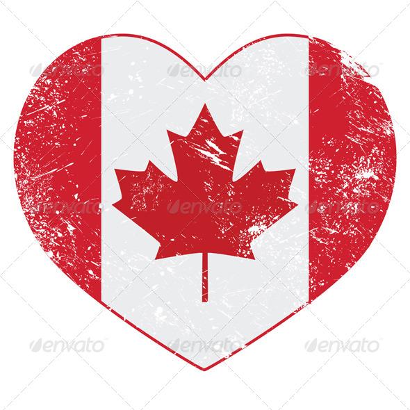 Canada Heart Retro Flag