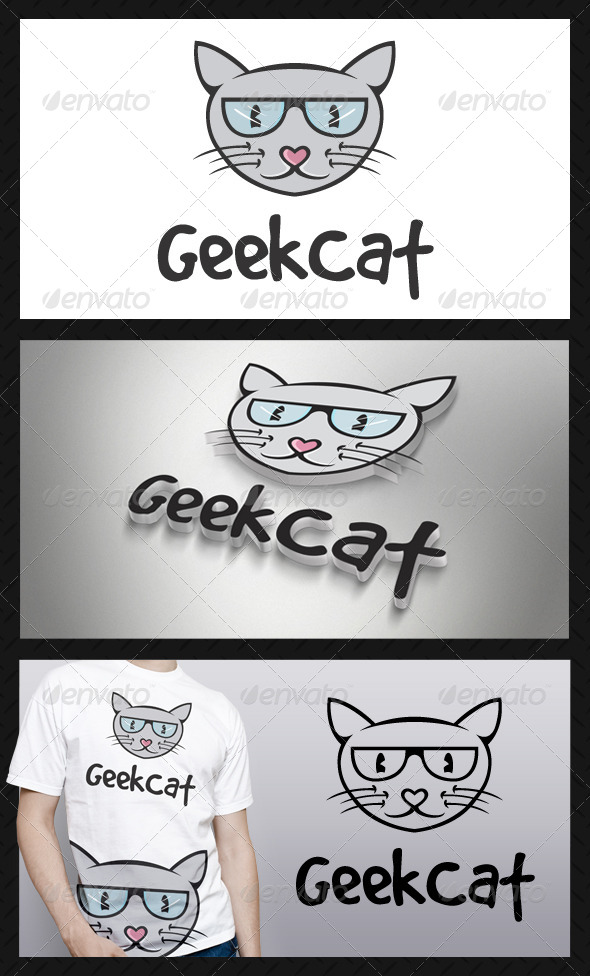 GraphicRiver Geek Cat Logo Template 4272170