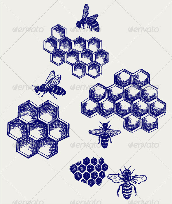 GraphicRiver Working Bee on Honeycells 4272175