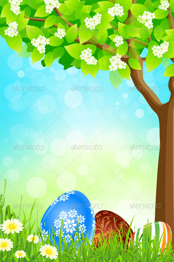 GraphicRiver Green Tree Background with Easter Eggs 4272210