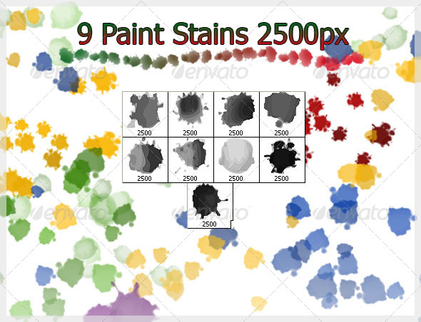 GraphicRiver 9 Paint Stains Brushes 2500px 4272348