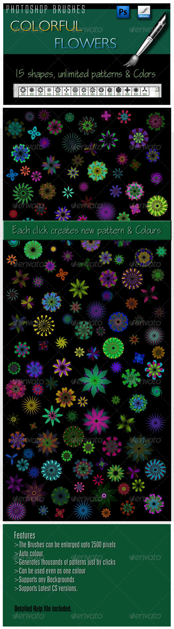 GraphicRiver Colourful Flowers Brushes 4272353