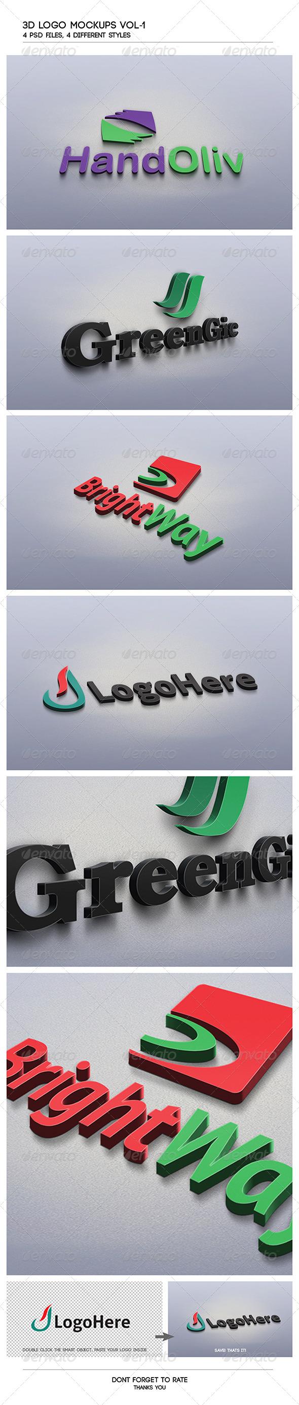 GraphicRiver 3D Logo Mockups Vol.1 4236715