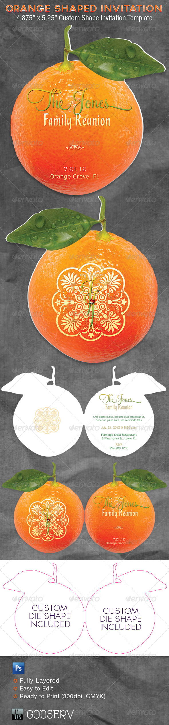 Orange Shaped Invitation Card Template