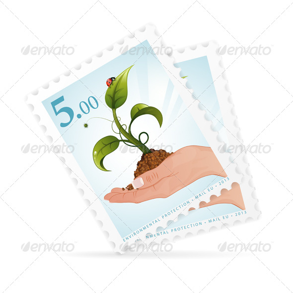 GraphicRiver Postage Stamps with Hand and Sprout 4276365