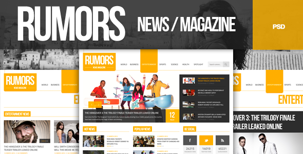 Rumors - News / Magazine  PSD Template