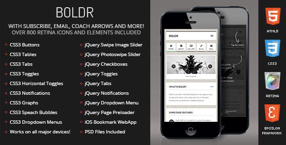 Boldr Mobile Retina | HTML5 & CSS3 And iWebApp