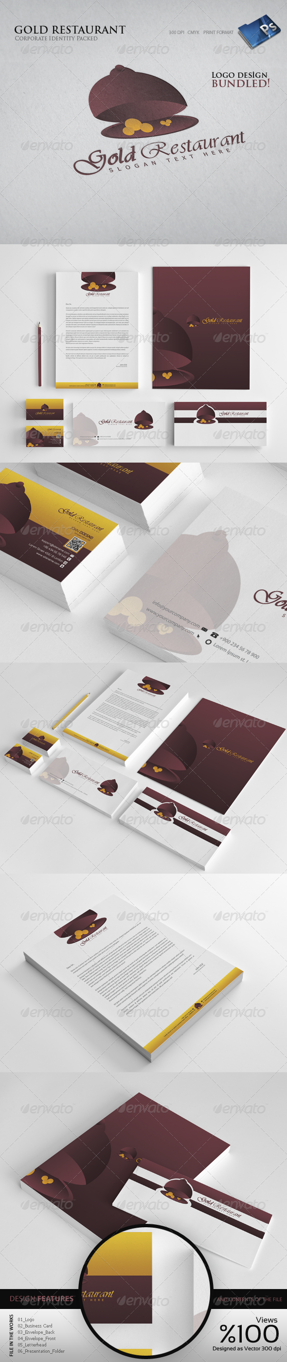 Gold Reustrant  - Corporate Identity - Stationery Print Templates