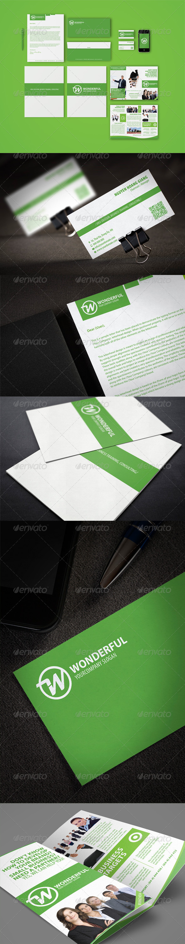 GraphicRiver Wonderful Green Branding Identity 4276763